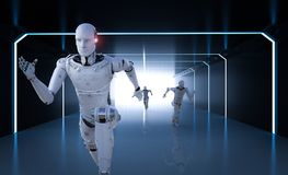 Cyborg running competition. 3d rendering cyborg running with fast speed in competition Royalty Free Stock Image