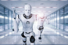 Cyborg running fast. 3d rendering cyborg running with fast speed in competition Royalty Free Stock Images