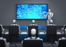 Cyborg lecturer or teacher. 3d rendering cyborg teaching in classroom or training room Stock Images