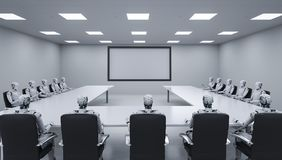 Cyborgs sitting in a row. 3d rendering cyborgs sitting in a row in seminar room or conference room Stock Photography