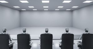 Cyborgs sitting in a row. 3d rendering cyborgs sitting in a row in seminar room or conference room stock illustration