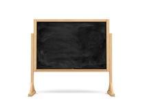 3d rendering czarny prostokąt szkoły chalkboard na drewnianym stojaku odizolowywającym na białym tle Obraz Royalty Free