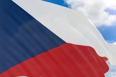 3D rendering of Czech Republic flag waving on blue sky   Royalty Free Stock Photography