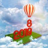 3d rendering czerwieni 2019 cyfry stoi na łacie unosi się wśród chmur w niebieskim niebie i gorącym powietrzu zielony gazon royalty ilustracja