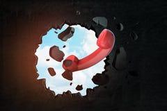 3d rendering czerwonego kabla naziemnego telefonu paserski łamanie przez czerni ściany z niebieskim niebem widocznym od dziury ilustracji