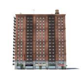 3d rendering czerwonej cegły budynek mieszkaniowy z pożarniczymi ucieczkami i sklepami na parterze Zdjęcie Stock