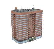 3d rendering czerwonej cegły budynek mieszkaniowy z sklepami na parterze Zdjęcia Royalty Free