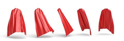 3d rendering czerwony przylądek drapował nad niewidzialną sylwetką w pięć różnych punktach widzenia ilustracja wektor