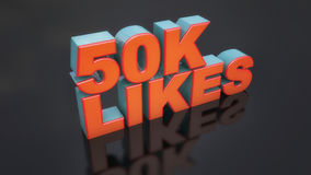 3d likes text and black floor. 3d rendering. 3d likes text and black floor Royalty Free Stock Photos
