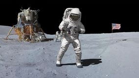 3D rendering. Dancing of Astronaut on the moon.. CG Animation. Elements of this image furnished by NASA.  royalty free illustration