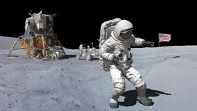 3D rendering. Dancing of Astronaut on the moon.. CG Animation. Elements of this image furnished by NASA.  stock illustration