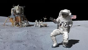 3D rendering. Dancing of Astronaut on the moon.. CG Animation. Elements of this image furnished by NASA.  vector illustration