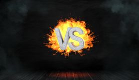3d rendering of a dark background with a concrete lettering VS hanging in the center of an orange fire blast. Business and confrontation. Conflict. Fight Royalty Free Stock Photo