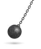 3d rendering of a dark black wrecking ball hanging from a chain and swinging in one side. Royalty Free Stock Image