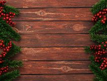 3D rendering dark christmas wooden background. With branches of fir and holly berries Royalty Free Stock Photography