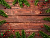 3D rendering dark christmas wooden background. With branches of fir and holly berries Royalty Free Stock Image