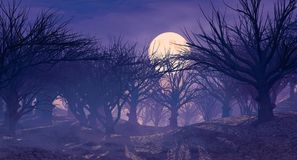 3d rendering of dark horror landscape with misty forest and big moon Royalty Free Stock Image