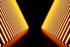 3D rendering dark Illuminated corridor of red neon light. Elegant futuristic neon light on wall. 3D rendering dark Illuminated corridor of red neon light Stock Photography