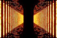 3D rendering dark Illuminated corridor of red neon light. Elegant futuristic neon light on wall. 3D rendering dark Illuminated corridor of red neon light Royalty Free Stock Photography