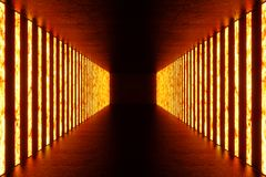 3D rendering dark Illuminated corridor of red neon light. Elegant futuristic neon light on wall. 3D rendering dark Illuminated corridor of red neon light Stock Photo