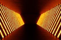3D rendering dark Illuminated corridor of red neon light. Elegant futuristic neon light on wall. 3D rendering dark Illuminated corridor of red neon light Stock Photos