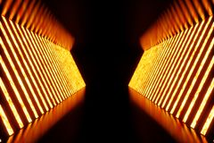 3D rendering dark Illuminated corridor of red neon light. Elegant futuristic neon light on wall. 3D rendering dark Illuminated corridor of red neon light Stock Image