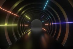 3d rendering, dark science-fiction tunnel, dark background. Computer digital background bright exit entrance luminous light structure illustration corridor stock illustration