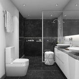 3d rendering dark tile modern style bathroom Royalty Free Stock Image