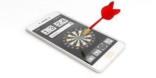 3d rendering dart aiming a target on a smartphone screen. 3d rendering red dart aiming a target on a smartphone screen on white background Royalty Free Stock Photography