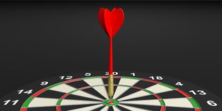3d rendering dart on target on black background Stock Photography