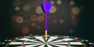3d rendering dart on target on bokeh background Royalty Free Stock Image