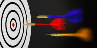 3d rendering darts aiming target on black background. 3d rendering darts aiming target Stock Photo