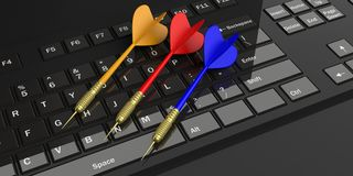 3d rendering darts  on black keyboard. 3d rendering colorful darts  on black keyboard Royalty Free Stock Photography