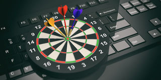 3d rendering darts board on black keyboard. 3d rendering colorful darts board on black keyboard Stock Images