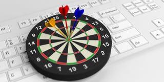 3d rendering darts board on white keyboard. 3d rendering colorful darts board on white keyboard Stock Photo