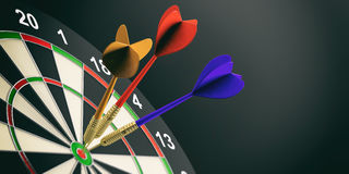 3d rendering darts on target on black background. 3d rendering colorful darts on target on black background Royalty Free Stock Photos