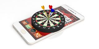 3d rendering darts on target on a smartphone. 3d rendering colorful darts on target on a smartphone on white background Stock Photography