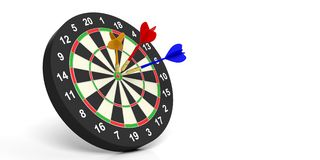 3d rendering darts on target on white background. 3d rendering colorful darts on target on white background Royalty Free Stock Image