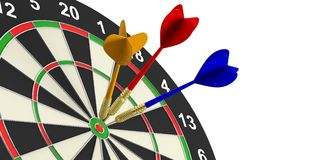 3d rendering darts on target on white background. 3d rendering colorful darts on target on white background Stock Image