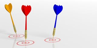 3d rendering darts on targets on white background. 3d rendering colorful darts on targets on white background Stock Photo