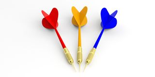 3d rendering darts  on white background. 3d rendering colorful darts  on white background Stock Photos