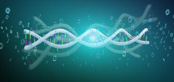 3d rendering data coded Dna with binary file around. View of a 3d rendering data coded Dna with binary file around Royalty Free Stock Photography