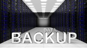 3D rendering of dataceter with Data Backup text Royalty Free Stock Photos