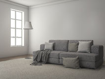 3d rendering daylight from window along the sofa and carpet Stock Photos