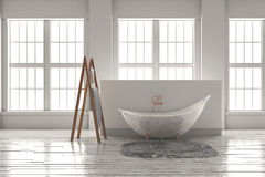 3D-rendering de uma banheira em um assoalho de madeira na frente dos grandes wi Foto de Stock