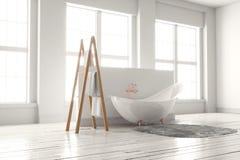 3D-rendering de uma banheira em um assoalho de madeira na frente dos grandes wi Imagens de Stock Royalty Free