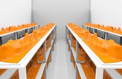 3d rendering. Dead Human body covered by orange plastic bag on rack on gray room. People die from covid-19 corona virus