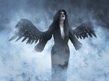 3D rendering of a death angel. An angel of death with its black wings spread, 3D rendering. She is surrounded by smoke or clouds like it`s a dream or in heaven stock illustration