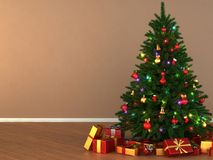3d Rendering decorated Christmas tree. With toys and gifts Stock Photography