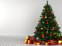3d Rendering decorated Christmas tree. With toys and gifts Royalty Free Stock Images